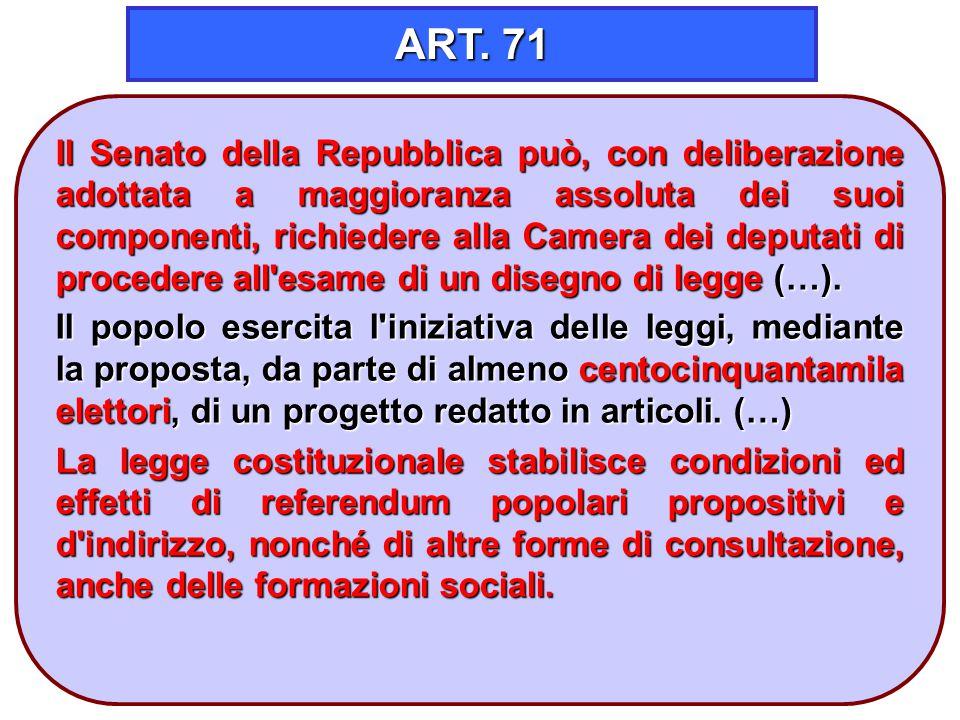 15 ART. 71 Il Senato della Repubblica può, con deliberazione adottata a maggioranza assoluta dei suoi componenti, richiedere alla Camera dei deputati