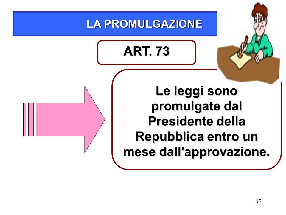 17 LA PROMULGAZIONE Le leggi sono promulgate dal Presidente della Repubblica entro un mese dall'approvazione. ART. 73