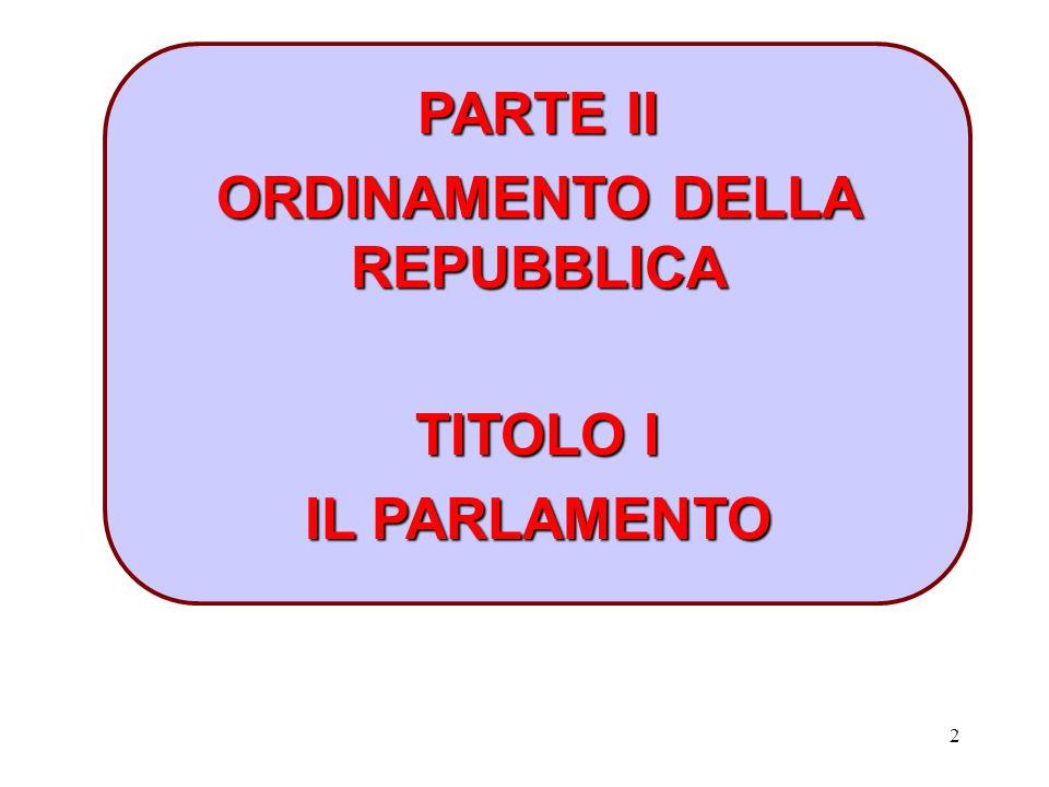 2 PARTE II ORDINAMENTO DELLA REPUBBLICA TITOLO I IL PARLAMENTO