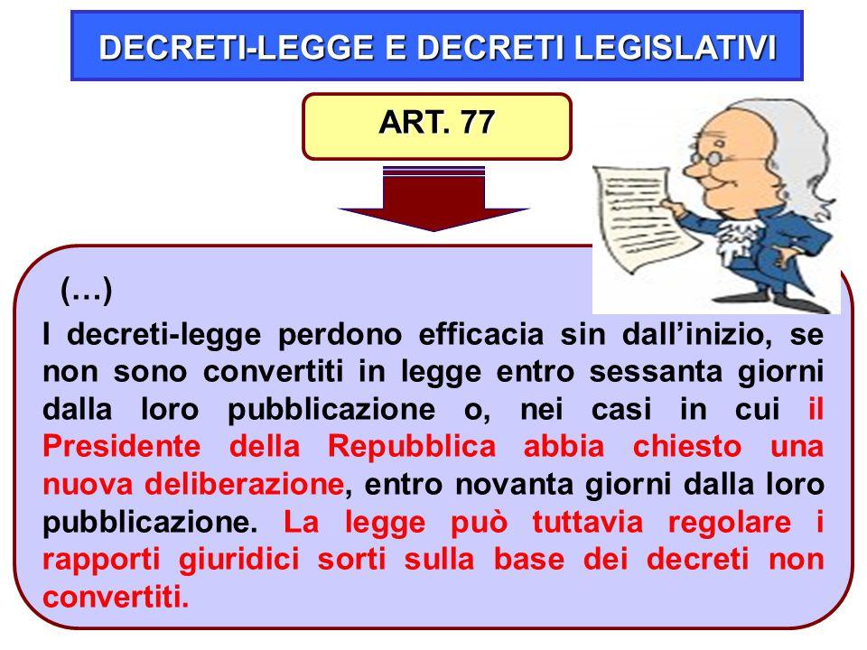 20 DECRETI-LEGGE E DECRETI LEGISLATIVI (…) I decreti-legge perdono efficacia sin dall'inizio, se non sono convertiti in legge entro sessanta giorni da