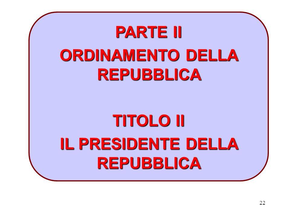 22 PARTE II ORDINAMENTO DELLA REPUBBLICA TITOLO II IL PRESIDENTE DELLA REPUBBLICA