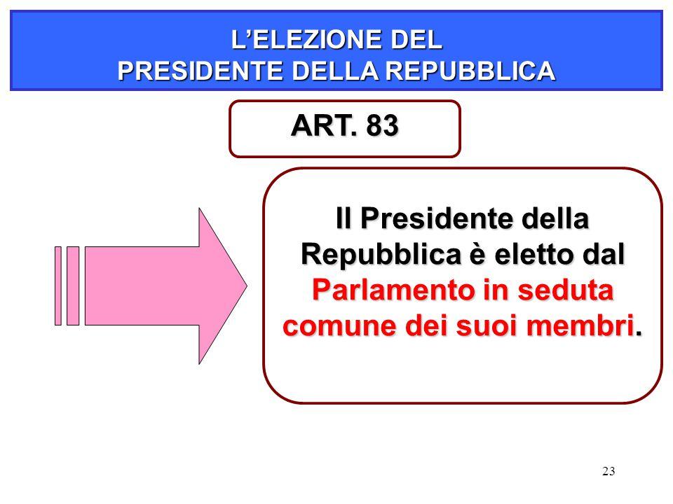23 L'ELEZIONE DEL PRESIDENTE DELLA REPUBBLICA Il Presidente della Repubblica è eletto dal Parlamento in seduta comune dei suoi membri. ART. 83