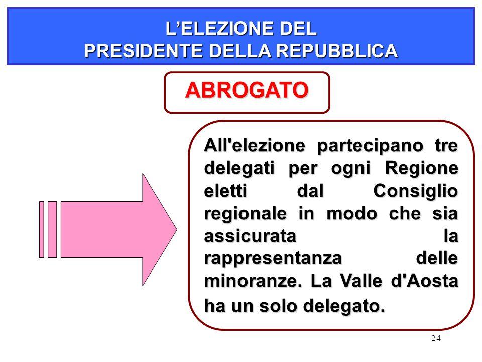 24 L'ELEZIONE DEL PRESIDENTE DELLA REPUBBLICA All'elezione partecipano tre delegati per ogni Regione eletti dal Consiglio regionale in modo che sia as