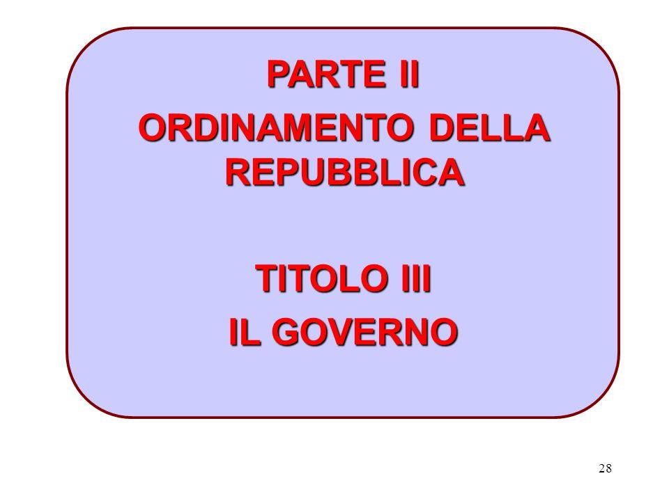 28 PARTE II ORDINAMENTO DELLA REPUBBLICA TITOLO III IL GOVERNO