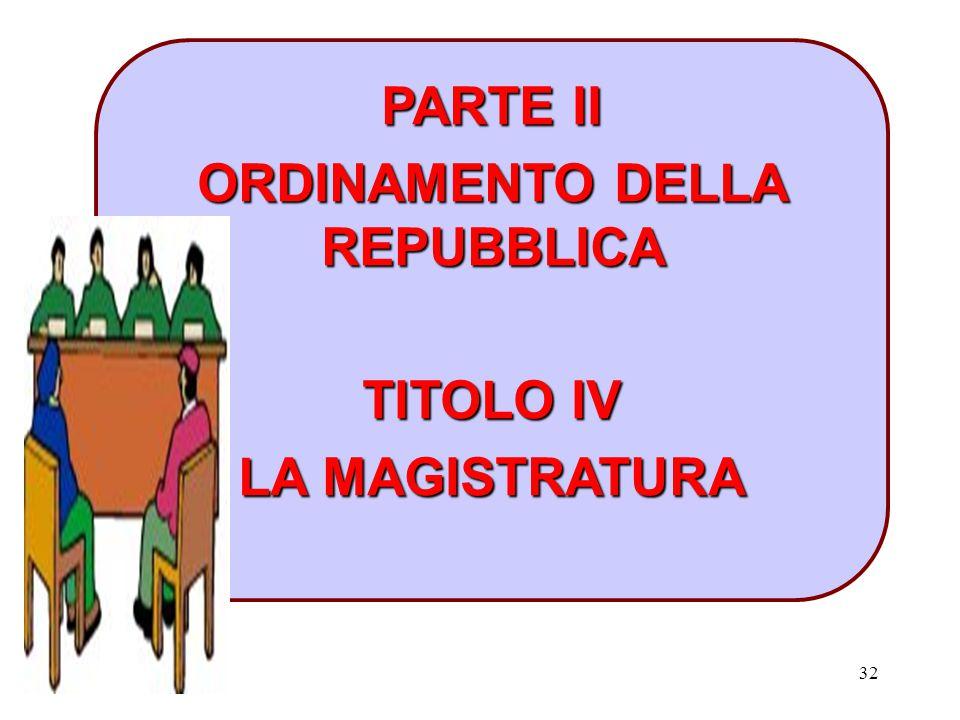 32 PARTE II ORDINAMENTO DELLA REPUBBLICA TITOLO IV LA MAGISTRATURA