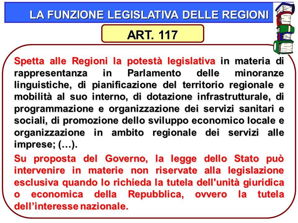 38 LA FUNZIONE LEGISLATIVA DELLE REGIONI Spetta alle Regioni la potestà legislativa in materia di rappresentanza in Parlamento delle minoranze linguis