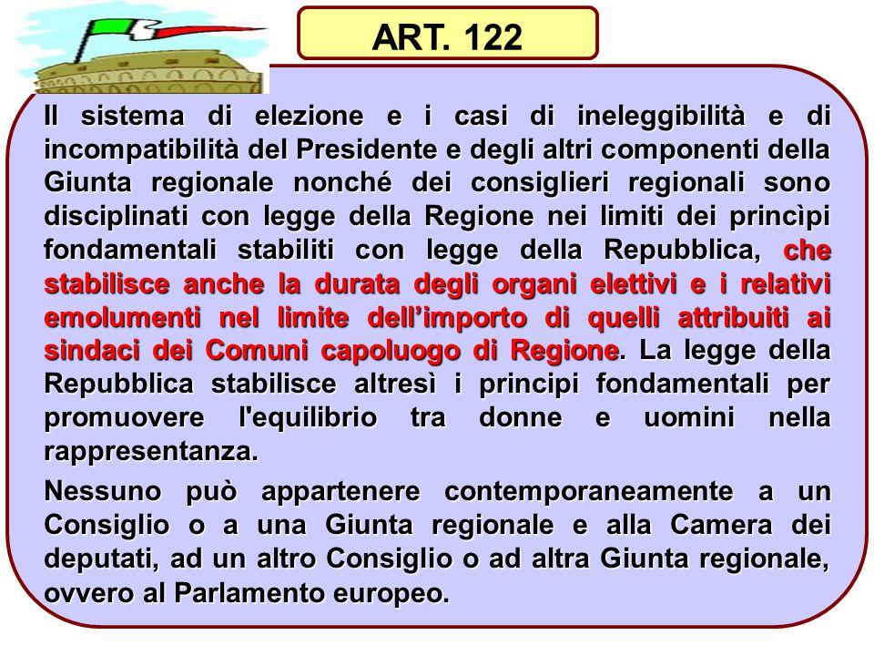 39 Il sistema di elezione e i casi di ineleggibilità e di incompatibilità del Presidente e degli altri componenti della Giunta regionale nonché dei co