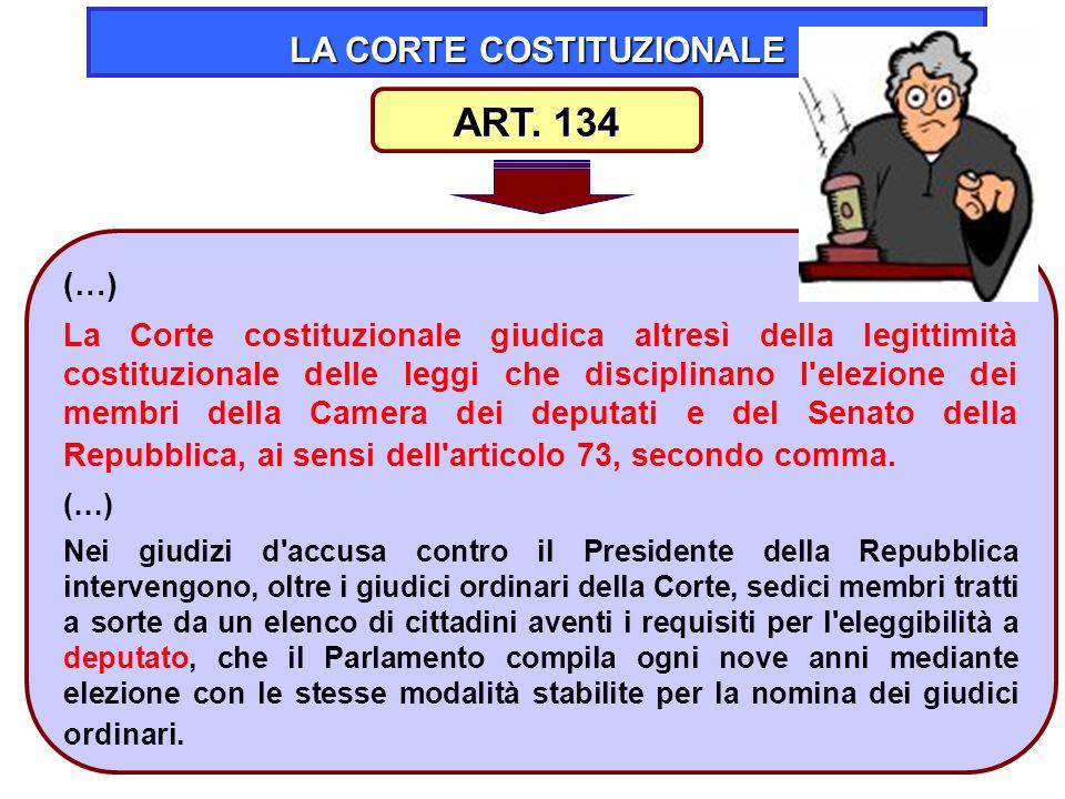 41 LA CORTE COSTITUZIONALE (…) La Corte costituzionale giudica altresì della legittimità costituzionale delle leggi che disciplinano l'elezione dei me