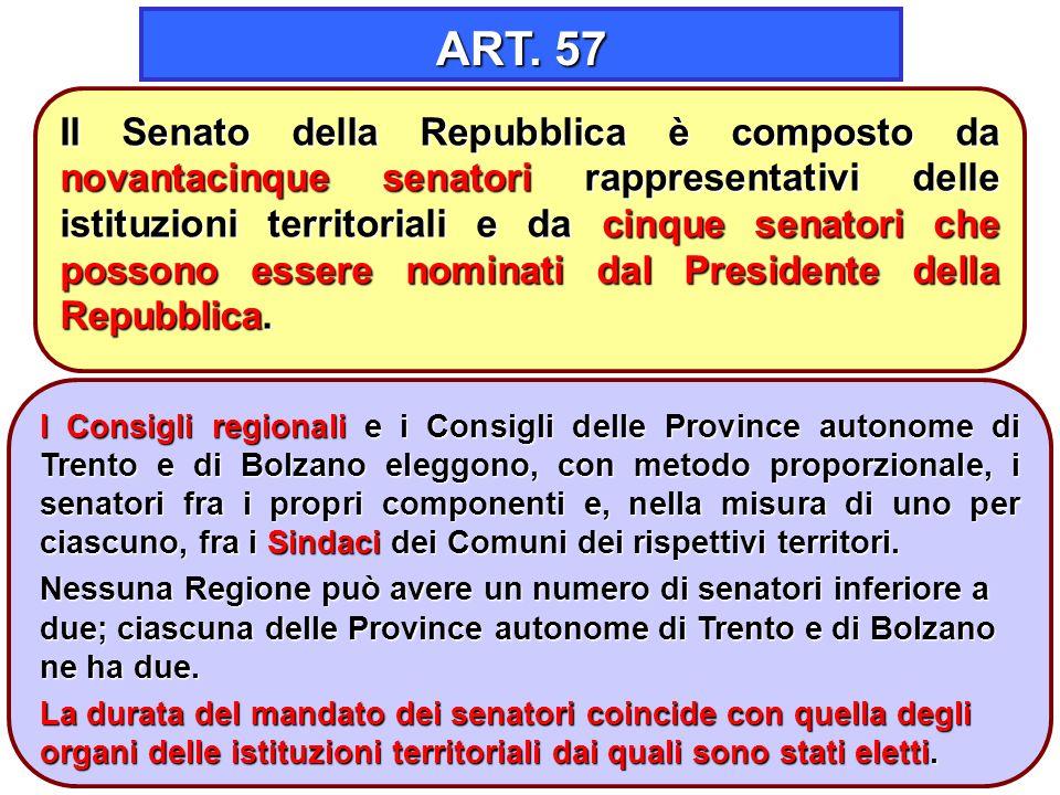 6 ART. 57 I Consigli regionali e i Consigli delle Province autonome di Trento e di Bolzano eleggono, con metodo proporzionale, i senatori fra i propri