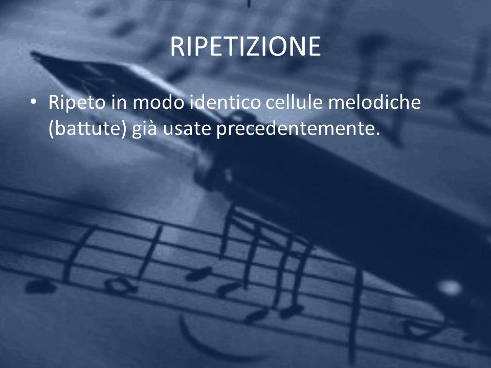 RIPETIZIONE Ripeto in modo identico cellule melodiche (battute) già usate precedentemente.