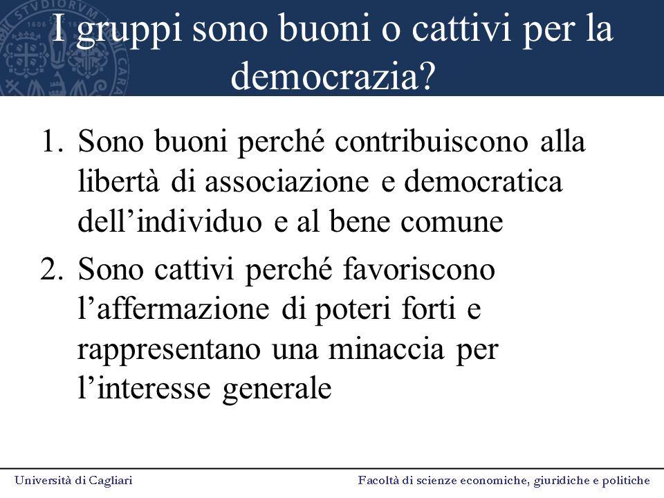 I gruppi sono buoni o cattivi per la democrazia? 1.Sono buoni perché contribuiscono alla libertà di associazione e democratica dell'individuo e al ben