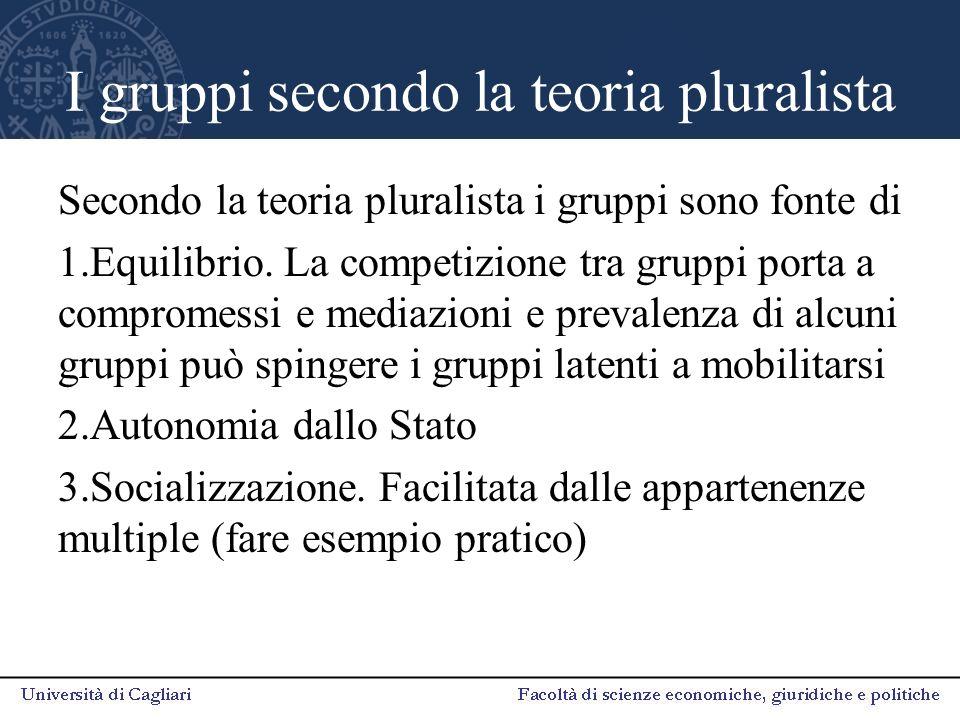 I gruppi secondo la teoria pluralista Secondo la teoria pluralista i gruppi sono fonte di 1.Equilibrio. La competizione tra gruppi porta a compromessi