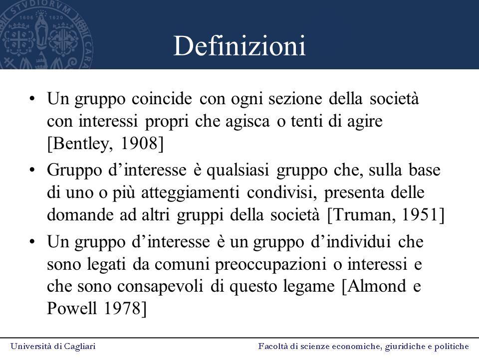 Definizioni Un gruppo coincide con ogni sezione della società con interessi propri che agisca o tenti di agire [Bentley, 1908] Gruppo d'interesse è qu