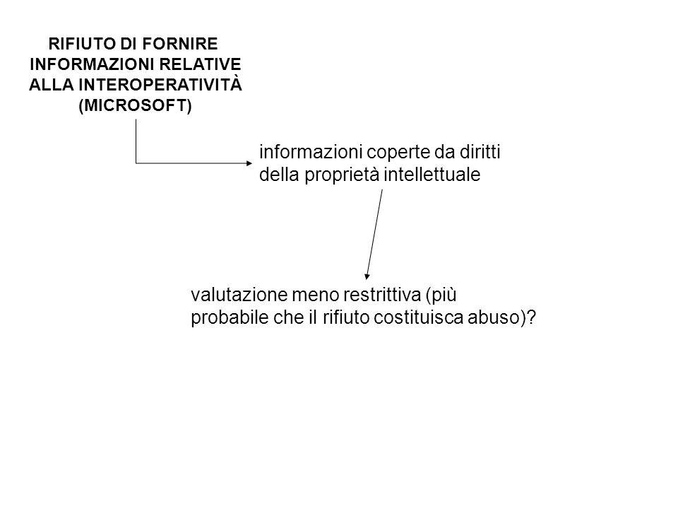 RIFIUTO DI FORNIRE INFORMAZIONI RELATIVE ALLA INTEROPERATIVITÀ (MICROSOFT) informazioni coperte da diritti della proprietà intellettuale valutazione meno restrittiva (più probabile che il rifiuto costituisca abuso)