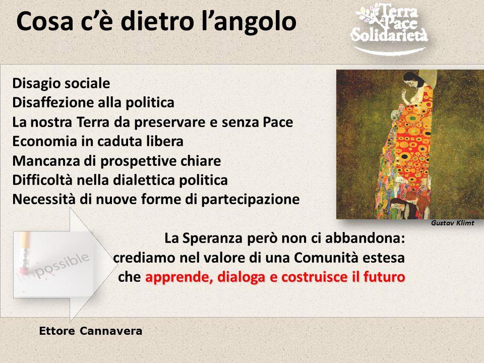 Cosa c'è dietro l'angolo Ettore Cannavera Far convergere idee, iniziative e creatività verso un dialogo costruttivo e fattivo con e dentro la politica Una comunità di riferimento