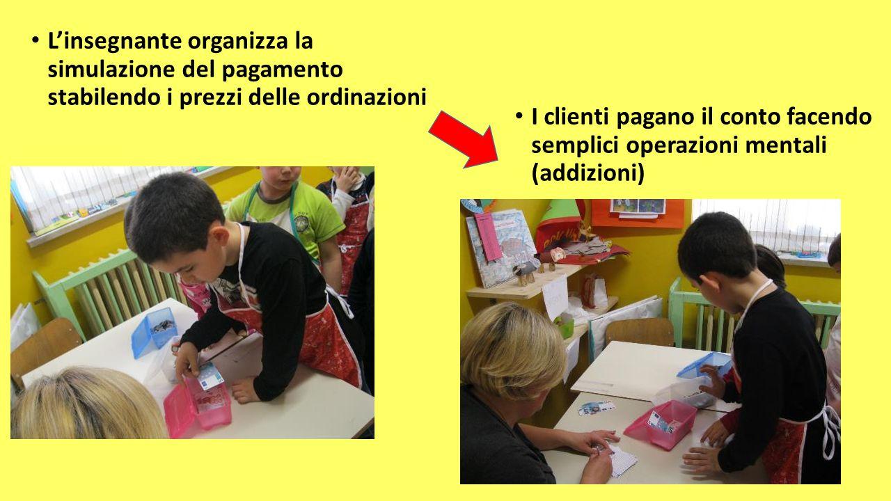 L'insegnante organizza la simulazione del pagamento stabilendo i prezzi delle ordinazioni I clienti pagano il conto facendo semplici operazioni mental