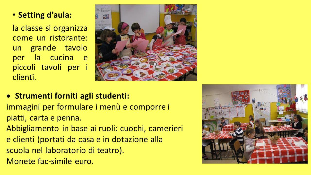 Setting d'aula: la classe si organizza come un ristorante: un grande tavolo per la cucina e piccoli tavoli per i clienti.  Strumenti forniti agli stu