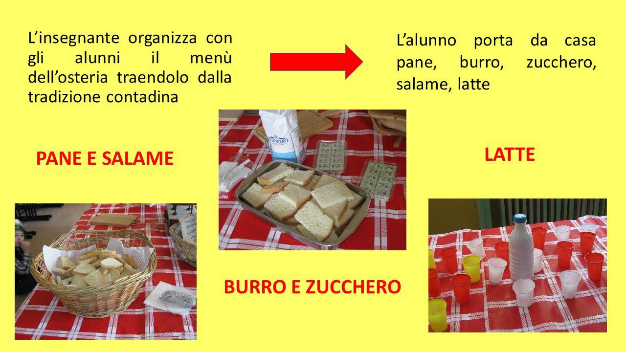 L'insegnante organizza con gli alunni il menù dell'osteria traendolo dalla tradizione contadina L'alunno porta da casa pane, burro, zucchero, salame,