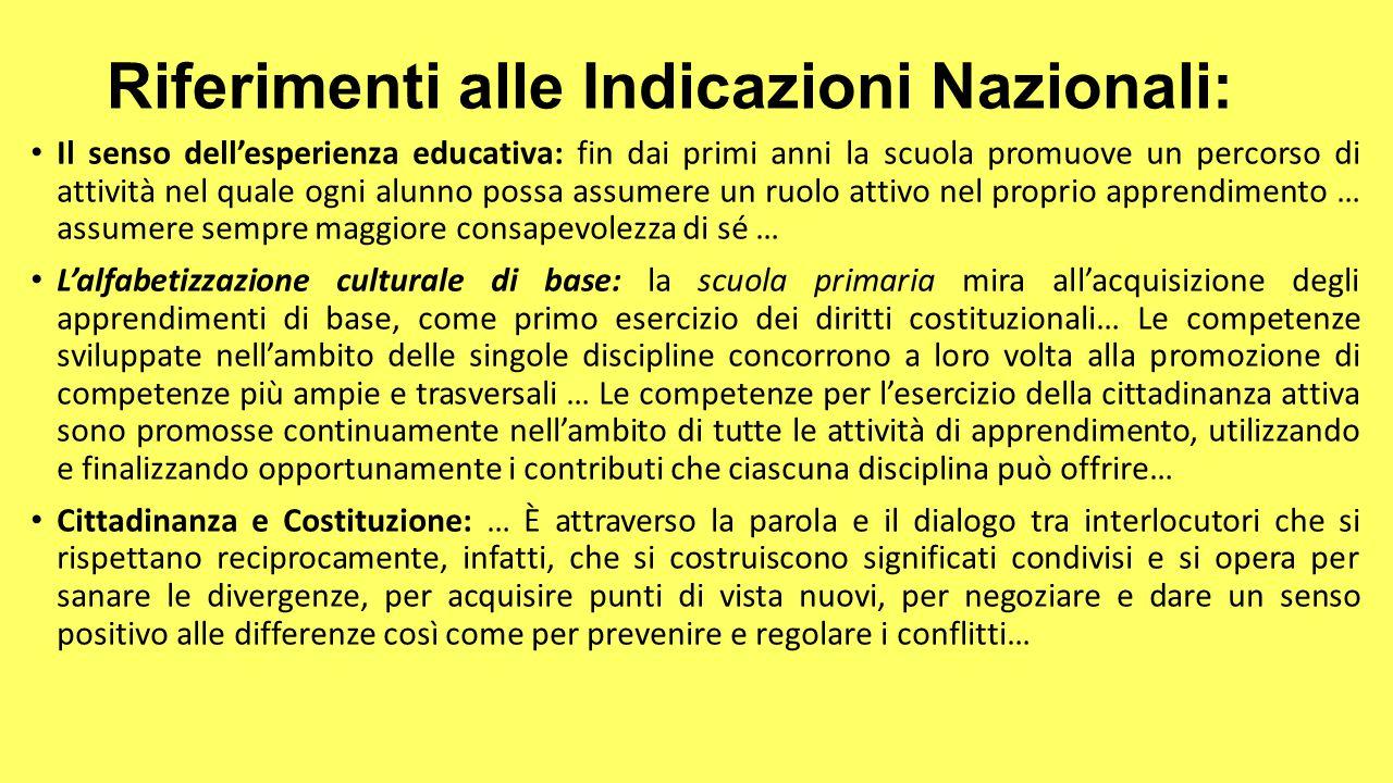 Riferimenti alle Indicazioni Nazionali: Il senso dell'esperienza educativa: fin dai primi anni la scuola promuove un percorso di attività nel quale og