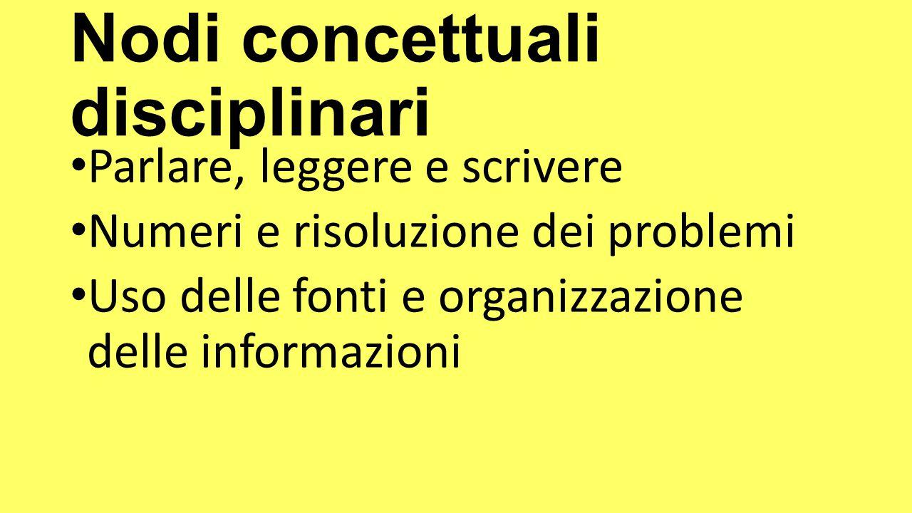 Nodi concettuali disciplinari Parlare, leggere e scrivere Numeri e risoluzione dei problemi Uso delle fonti e organizzazione delle informazioni