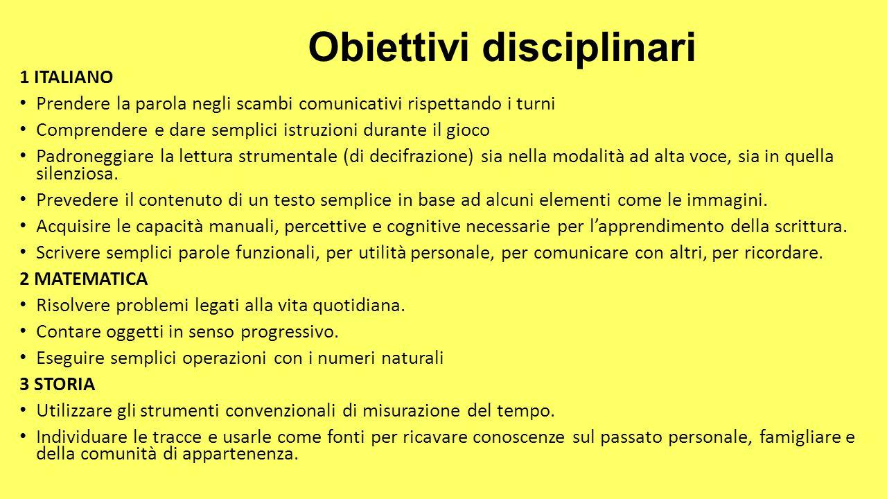 Obiettivi disciplinari 1 ITALIANO Prendere la parola negli scambi comunicativi rispettando i turni Comprendere e dare semplici istruzioni durante il g