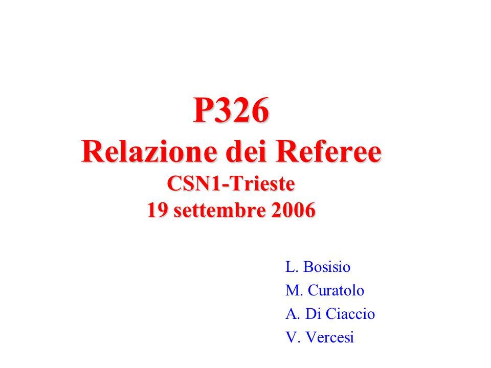 P326 Referee CSN1 Trieste- Settembre 2005 12 Milestone 2007 31/7/2007Conclusione studio prototipi di veto esistenti 31/8/2007Fine test chip fusione 2006 30/9/2007Fine costruzione prototipo del RICH 30/9/2007Completa caratterizzazione del danno da radiazione su diodi di Silicio della IRST 31/12/2007Risultati preliminari sulla risoluzione temporale e spaziale ottenuta con il prototipo del RICH 31/12/2007Sviluppo delle schede di RO per il LKr