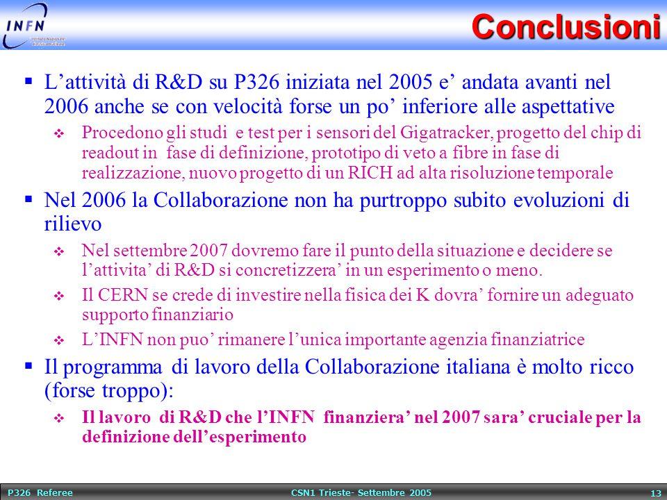 P326 Referee CSN1 Trieste- Settembre 2005 13Conclusioni  L'attività di R&D su P326 iniziata nel 2005 e' andata avanti nel 2006 anche se con velocità