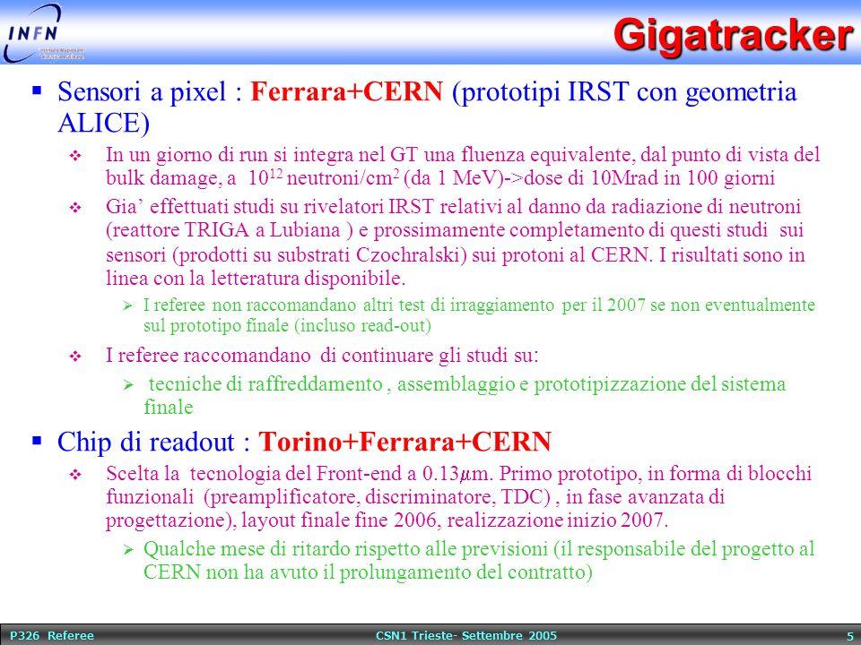 P326 Referee CSN1 Trieste- Settembre 2005 5Gigatracker  Sensori a pixel : Ferrara+CERN (prototipi IRST con geometria ALICE)  In un giorno di run si integra nel GT una fluenza equivalente, dal punto di vista del bulk damage, a 10 12 neutroni/cm 2 (da 1 MeV)->dose di 10Mrad in 100 giorni  Gia' effettuati studi su rivelatori IRST relativi al danno da radiazione di neutroni (reattore TRIGA a Lubiana ) e prossimamente completamento di questi studi sui sensori (prodotti su substrati Czochralski) sui protoni al CERN.