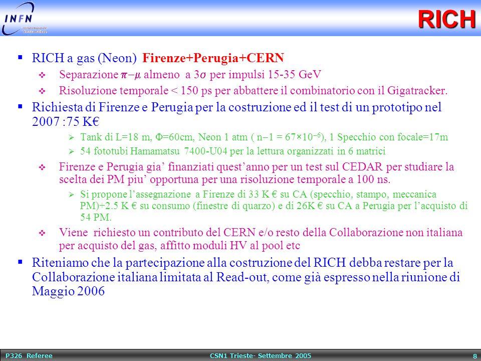P326 Referee CSN1 Trieste- Settembre 2005 8RICH  RICH a gas (Neon) Firenze+Perugia+CERN  Separazione  almeno a 3  per impulsi 15-35 GeV  Risoluzione temporale < 150 ps per abbattere il combinatorio con il Gigatracker.