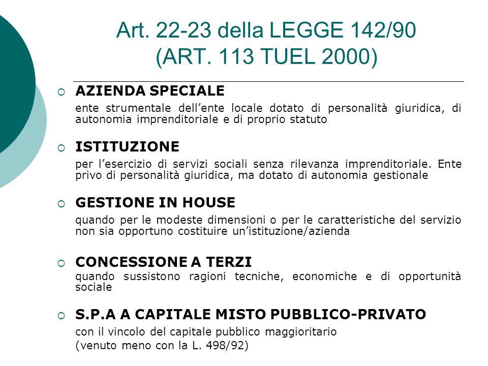 Art. 22-23 della LEGGE 142/90 (ART.