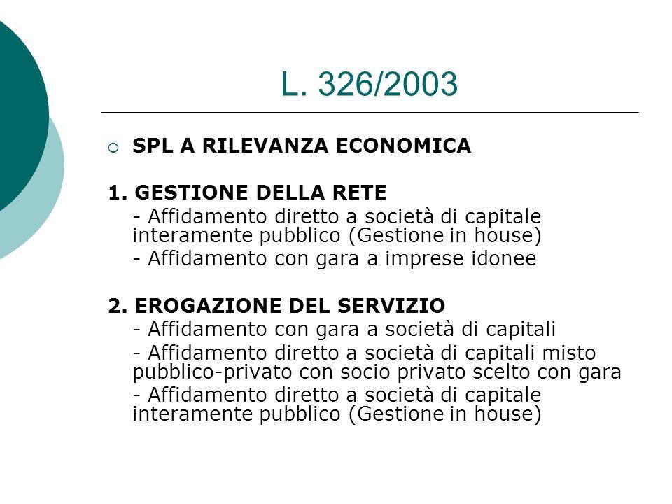 L. 326/2003  SPL A RILEVANZA ECONOMICA 1.
