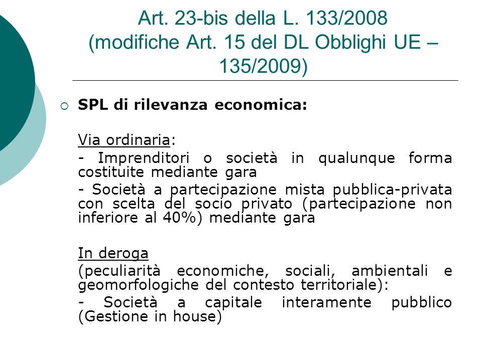 Art. 23-bis della L. 133/2008 (modifiche Art.