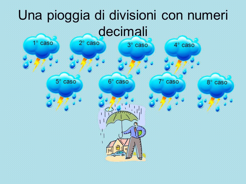 Una pioggia di divisioni con numeri decimali 1° caso2° caso 3° caso4° caso 5° caso6° caso7° caso 8° caso