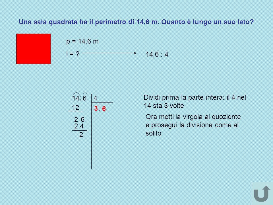 Una sala quadrata ha il perimetro di 14,6 m. Quanto è lungo un suo lato? p = 14,6 m l = ? 14,6 : 4 14, 64 Dividi prima la parte intera: il 4 nel 14 st