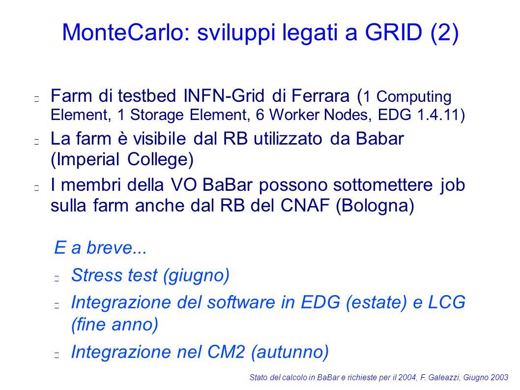 Stato del calcolo in BaBar e richieste per il 2004, F. Galeazzi, Giugno 2003 MonteCarlo: sviluppi legati a GRID (2) E a breve... Stress test (giugno)