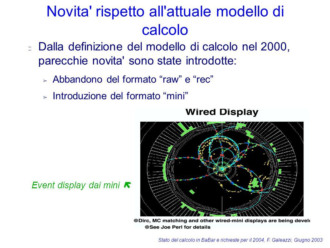 Stato del calcolo in BaBar e richieste per il 2004, F. Galeazzi, Giugno 2003 Novita' rispetto all'attuale modello di calcolo Dalla definizione del mod