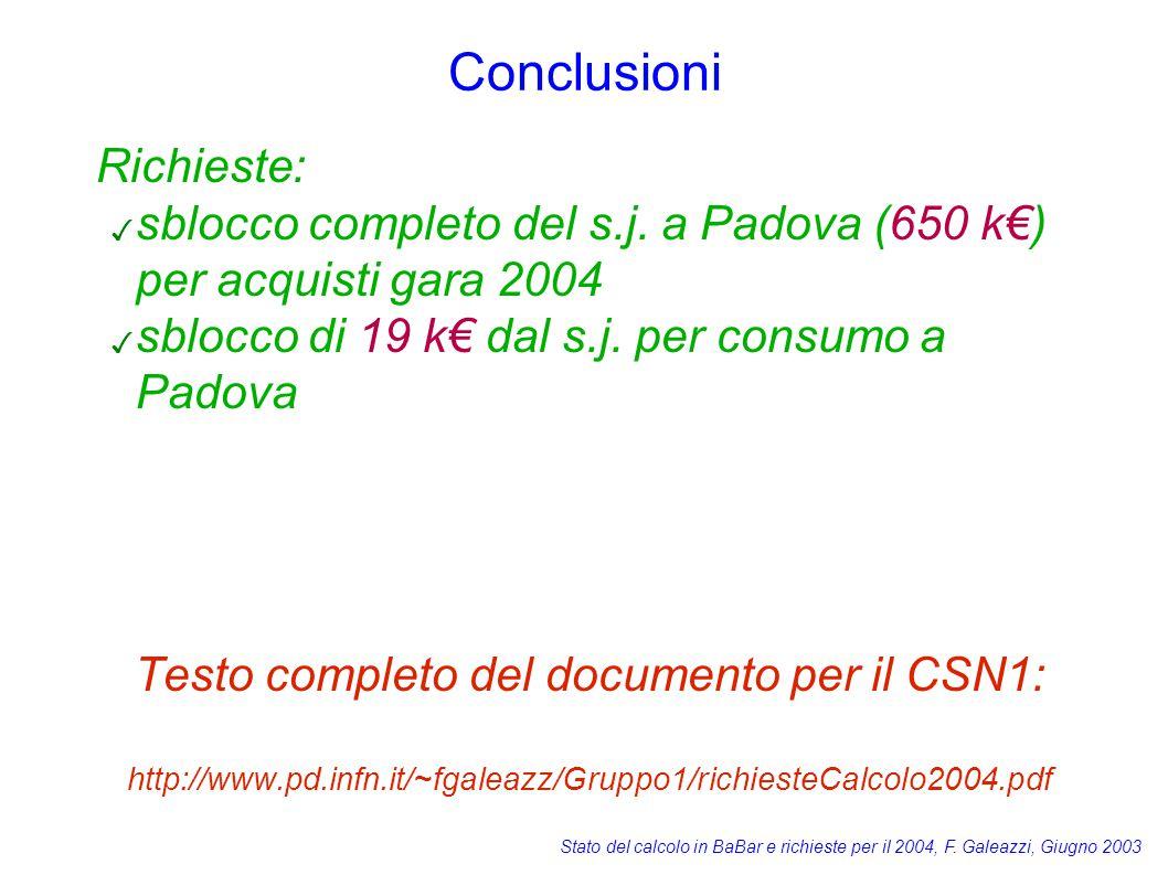 Stato del calcolo in BaBar e richieste per il 2004, F. Galeazzi, Giugno 2003 Conclusioni Richieste: ✓ sblocco completo del s.j. a Padova (650 k€) per