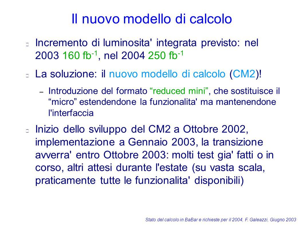Stato del calcolo in BaBar e richieste per il 2004, F. Galeazzi, Giugno 2003 Il nuovo modello di calcolo Incremento di luminosita' integrata previsto: