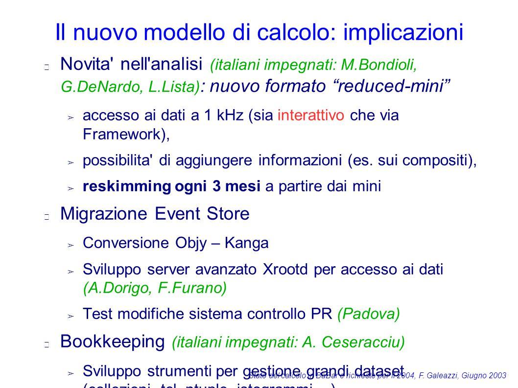 Stato del calcolo in BaBar e richieste per il 2004, F. Galeazzi, Giugno 2003 Il nuovo modello di calcolo: implicazioni Novita' nell'analisi (italiani