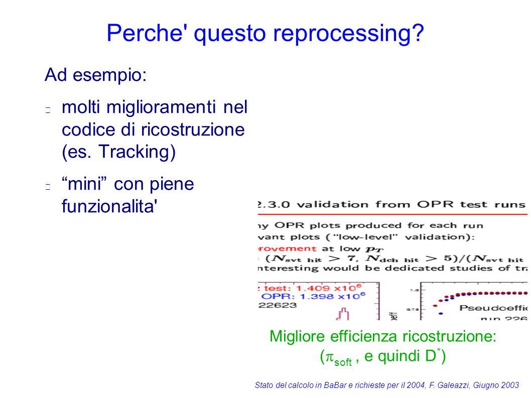 Stato del calcolo in BaBar e richieste per il 2004, F. Galeazzi, Giugno 2003 Perche' questo reprocessing? Ad esempio: molti miglioramenti nel codice d