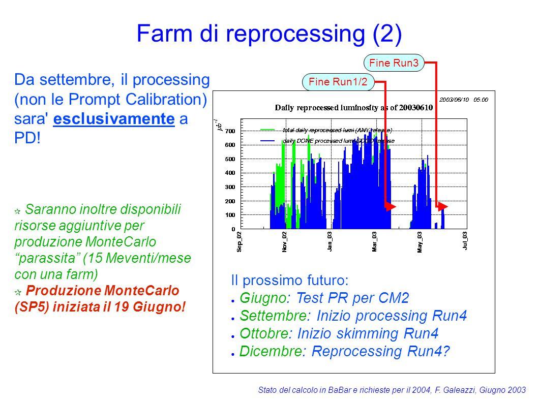 Stato del calcolo in BaBar e richieste per il 2004, F. Galeazzi, Giugno 2003 Farm di reprocessing (2) Il prossimo futuro: ● Giugno: Test PR per CM2 ●