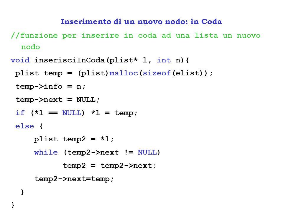 //funzione per inserire in coda ad una lista un nuovo nodo void inserisciInCoda(plist* l, int n){ plist temp = (plist)malloc(sizeof(elist)); temp->inf
