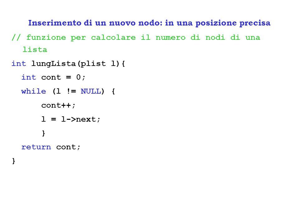 // funzione per calcolare il numero di nodi di una lista int lungLista(plist l){ int cont = 0; while (l != NULL) { cont++; l = l->next; } return cont;