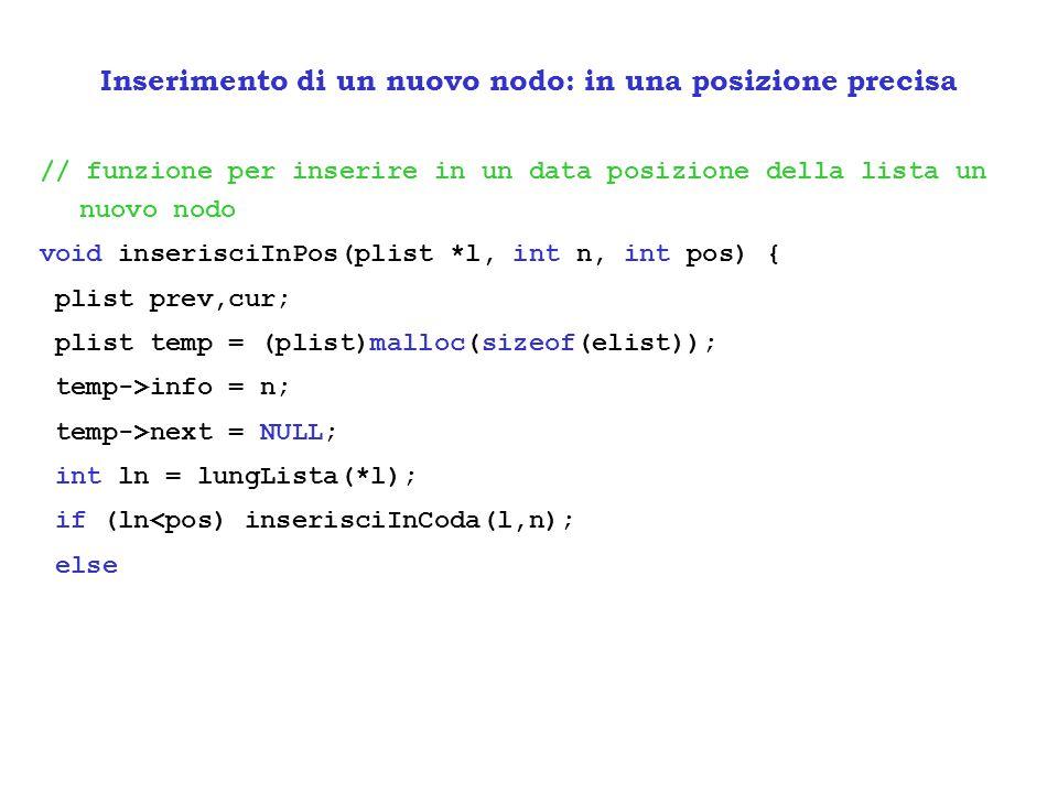 // funzione per inserire in un data posizione della lista un nuovo nodo void inserisciInPos(plist *l, int n, int pos) { plist prev,cur; plist temp = (