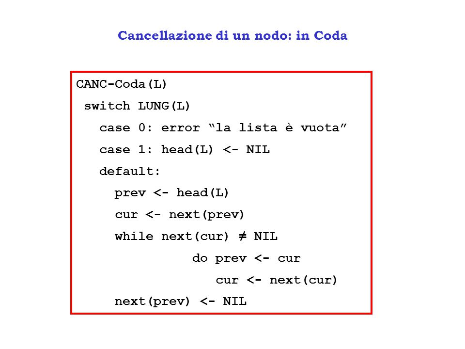 """Cancellazione di un nodo: in Coda CANC-Coda(L) switch LUNG(L) case 0: error """"la lista è vuota"""" case 1: head(L) <- NIL default: prev <- head(L) cur <-"""