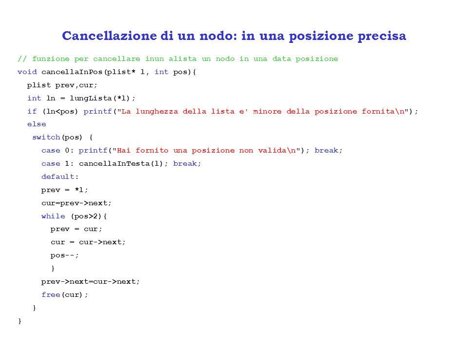// funzione per cancellare inun alista un nodo in una data posizione void cancellaInPos(plist* l, int pos){ plist prev,cur; int ln = lungLista(*l); if