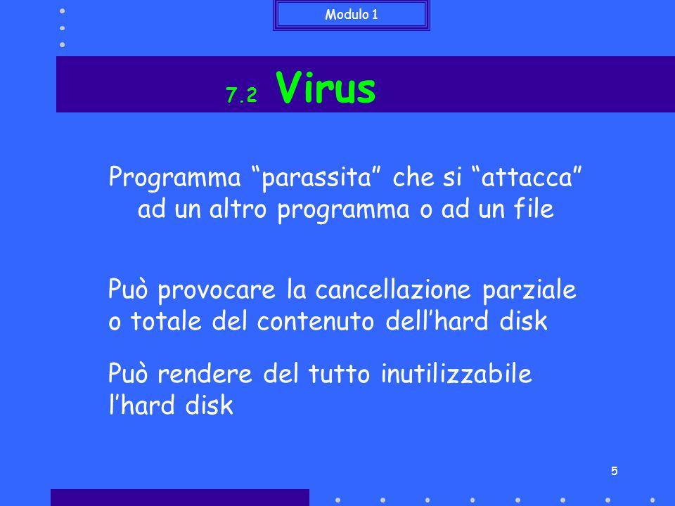 Modulo 1 5 7.2 Virus Programma parassita che si attacca ad un altro programma o ad un file Può provocare la cancellazione parziale o totale del contenuto dell'hard disk Può rendere del tutto inutilizzabile l'hard disk