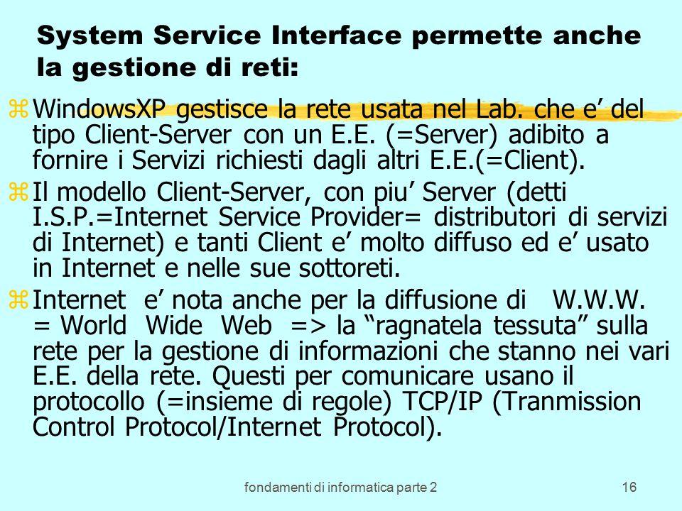 fondamenti di informatica parte 216 System Service Interface permette anche la gestione di reti: zWindowsXP gestisce la rete usata nel Lab.