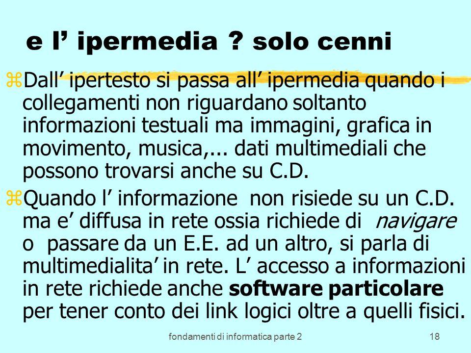 fondamenti di informatica parte 218 e l' ipermedia .