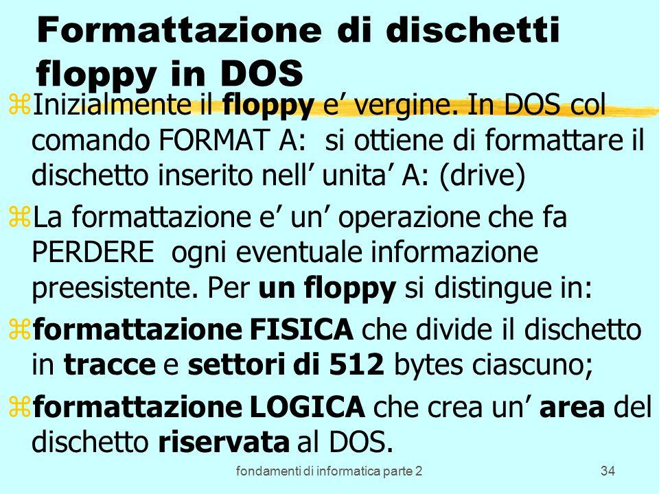fondamenti di informatica parte 234 Formattazione di dischetti floppy in DOS zInizialmente il floppy e' vergine.